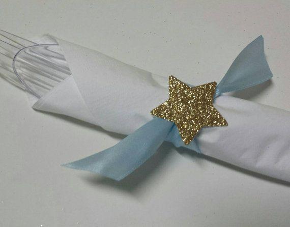 fec8b4894e3e Twinkle Twinkle little star Light Blue Napkin Rings for Birthday ...