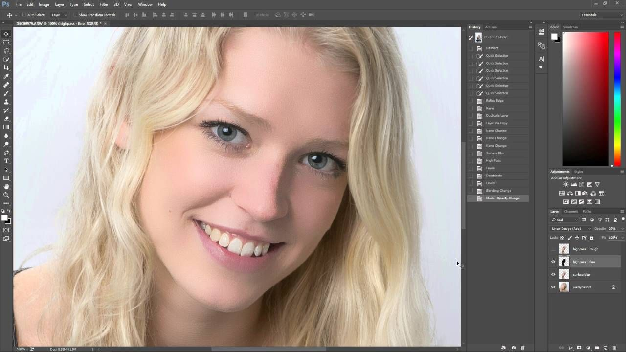 Smooth skin with texture using frequency separation (high pass)