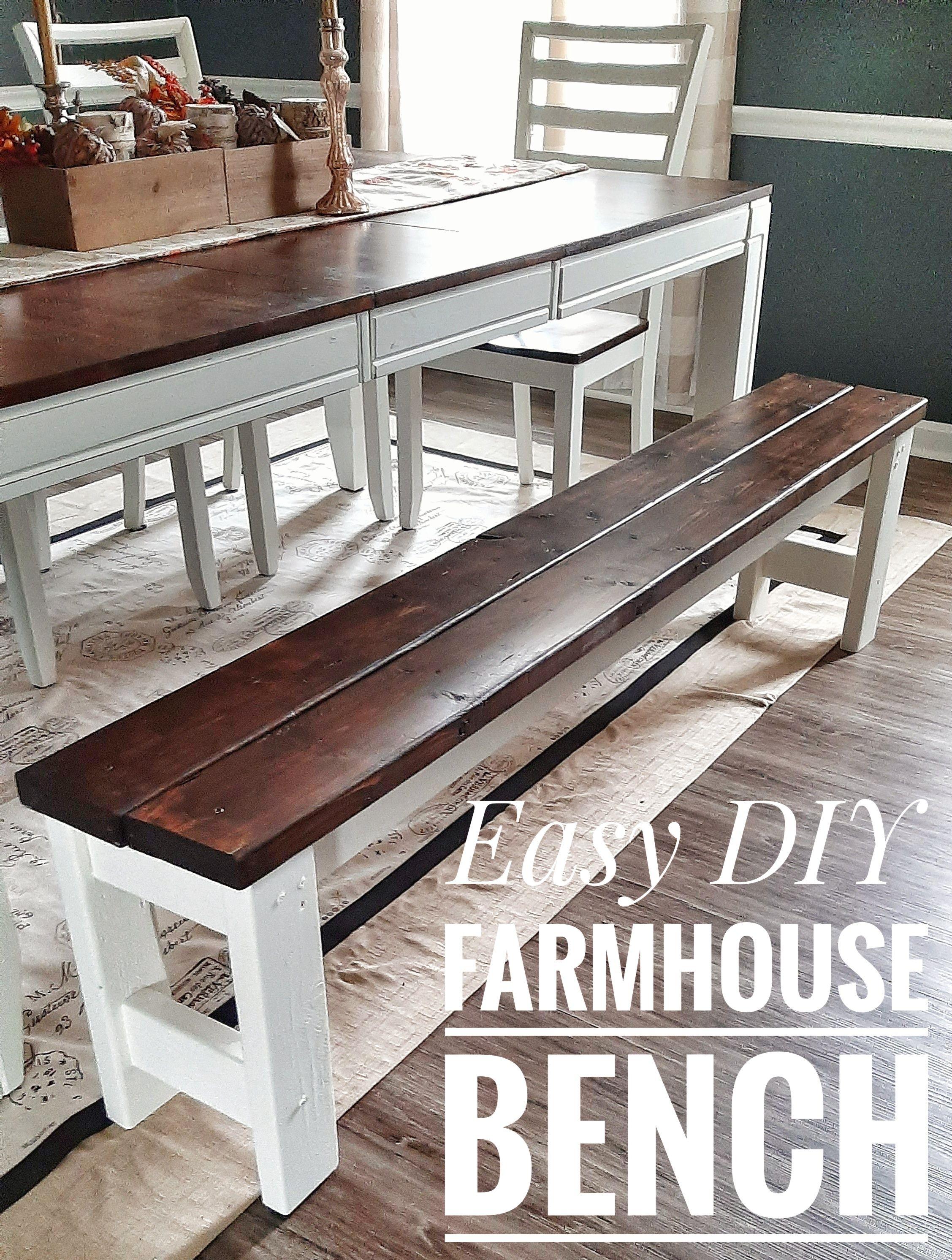 Easy Diy Farmhouse Bench Farmhouse Bench Diy Diy Dining Room Dining Table With Bench