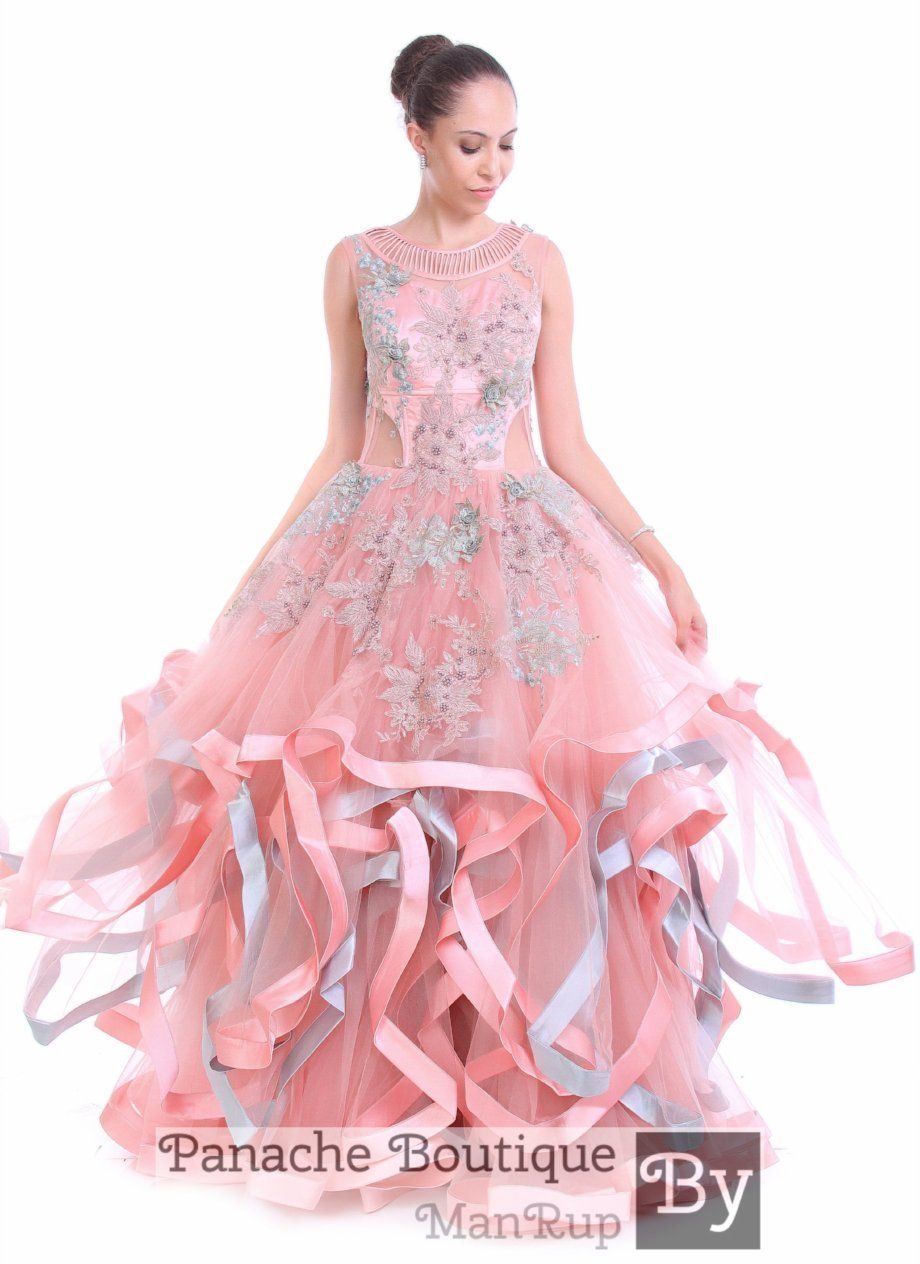 bc8f8aa8bd5 Pink Colour Multi-layered Gown