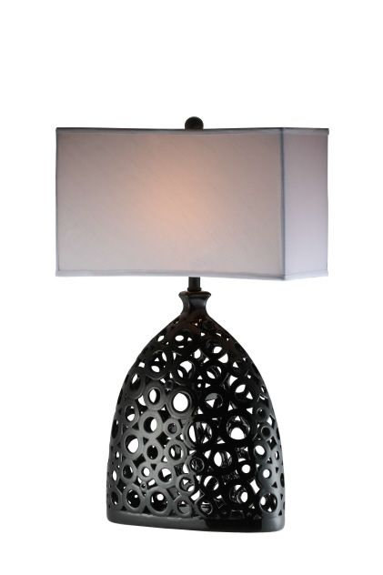 Classic And Yet Modern, This Black And White Table Lamp Also Has A Romantic  Feel