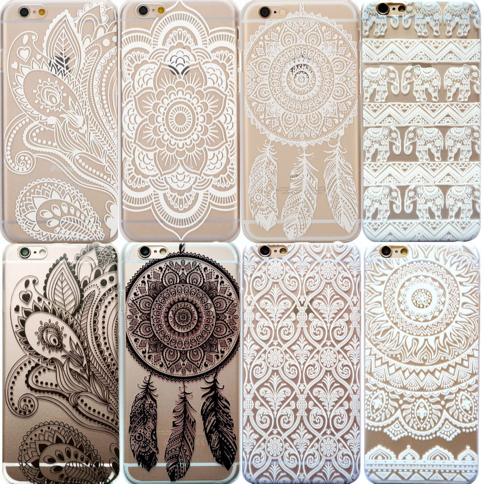 ddf26a00b95 Henna Flower Paisley Tribal Elephant Cover Phone Case For Iphone 5S 5C Se 6  6S +