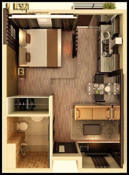 One Room Apartment Grundrisse Pinterest Einzimmerwohnung