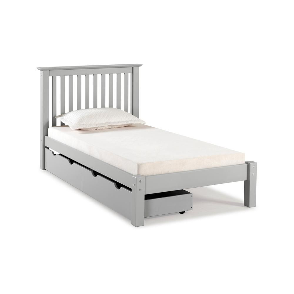 Alaterre Furniture Barcelona Dove Gray Twin Bed With Storage