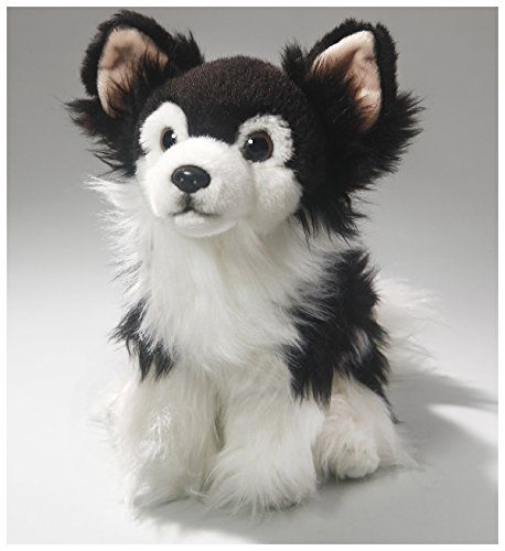 Stuffed Animal Chihuahua Black White Sitting Dog 11 5 Inches 30cm