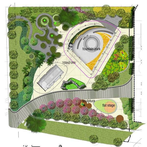 Garden Design Japanese Water Fountain In Mall With Chic: Masterplan Of City Square Urban Park. Courtesy Of ONG