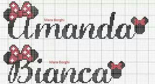 Amanda Bianca Ponto Cruz Minnie Nomes Em Ponto Cruz Monogramas