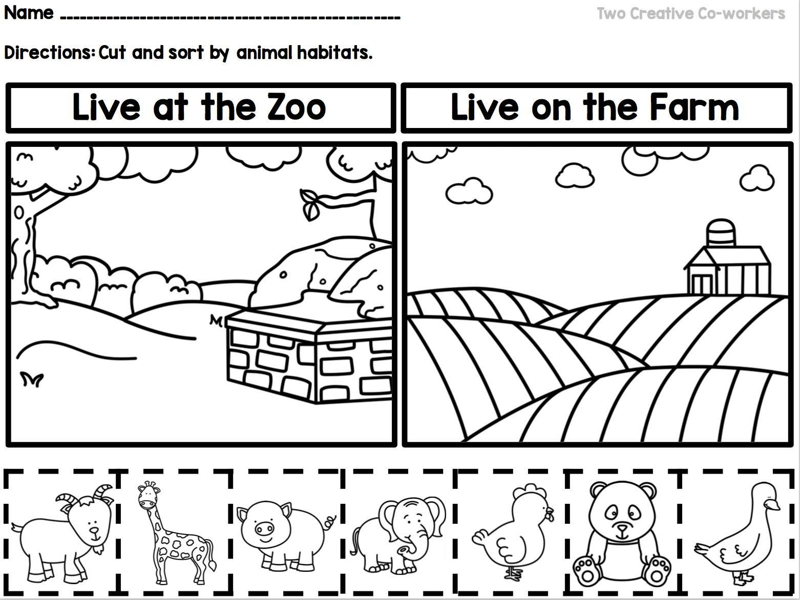 Kindergarten Animal Habitats Printable Book Sorting
