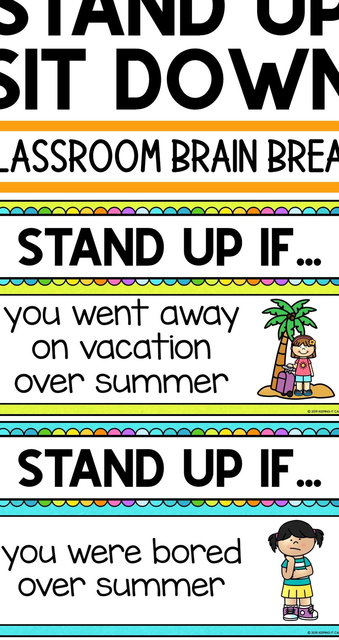 Pin By Kimberly Hunter On Good Idea Brain Breaks First Day Of School Back To School