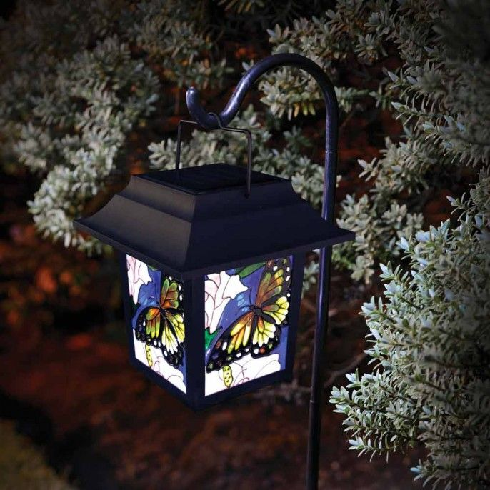 STAINED GLASS BUTTERFLY SOLAR LANTERN