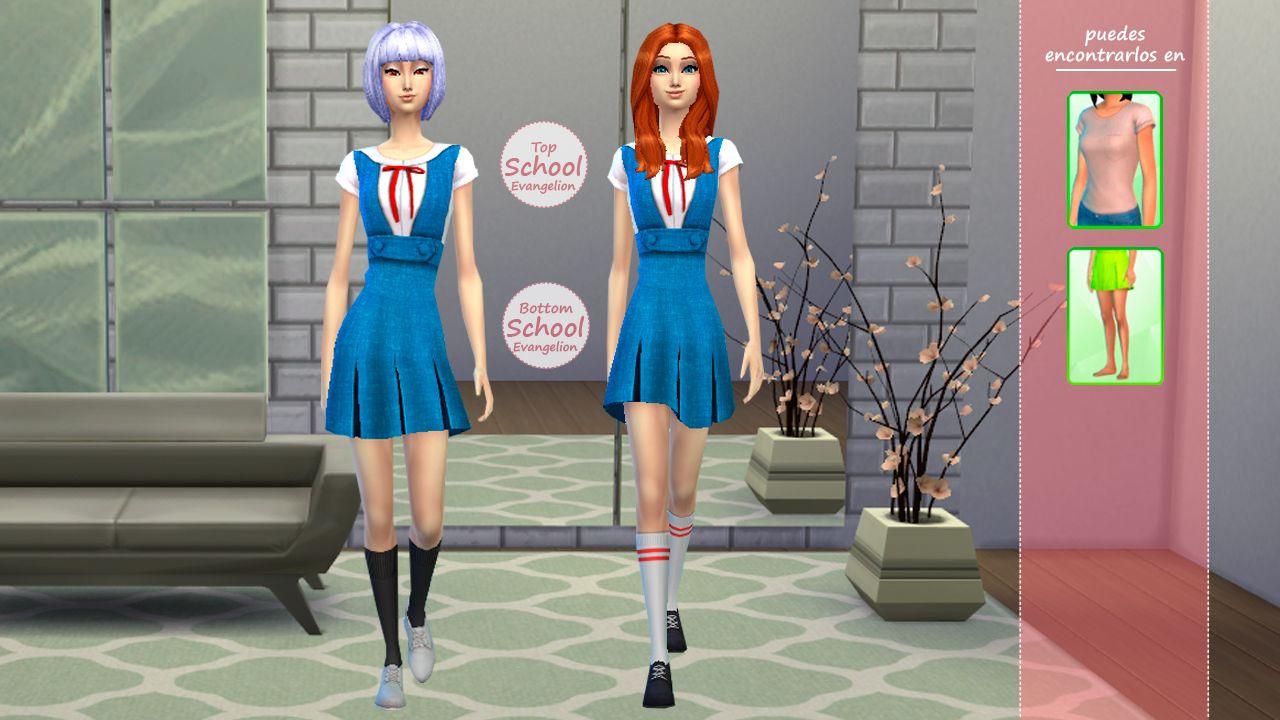 Anime collection evangelion school uniform los sims 4