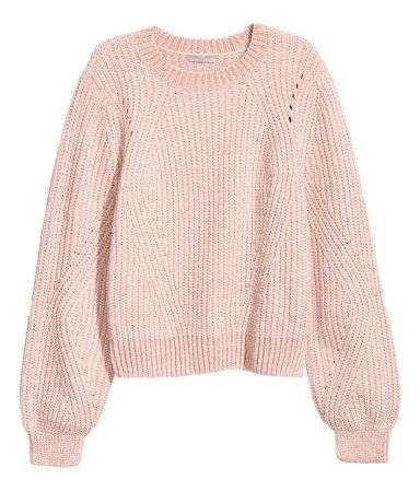 Light Pink Sweater In A Soft Textured Knit Fabric With Slightly Wider Sleeves Ribbing At Necklin Dusty Pink Sweater Pink Long Sleeve Shirt Pink Knit Sweater