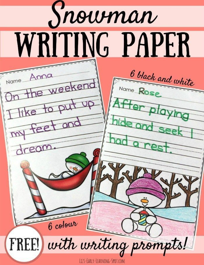Snowman Writing Paper with Prompts Kindergarten Language Arts