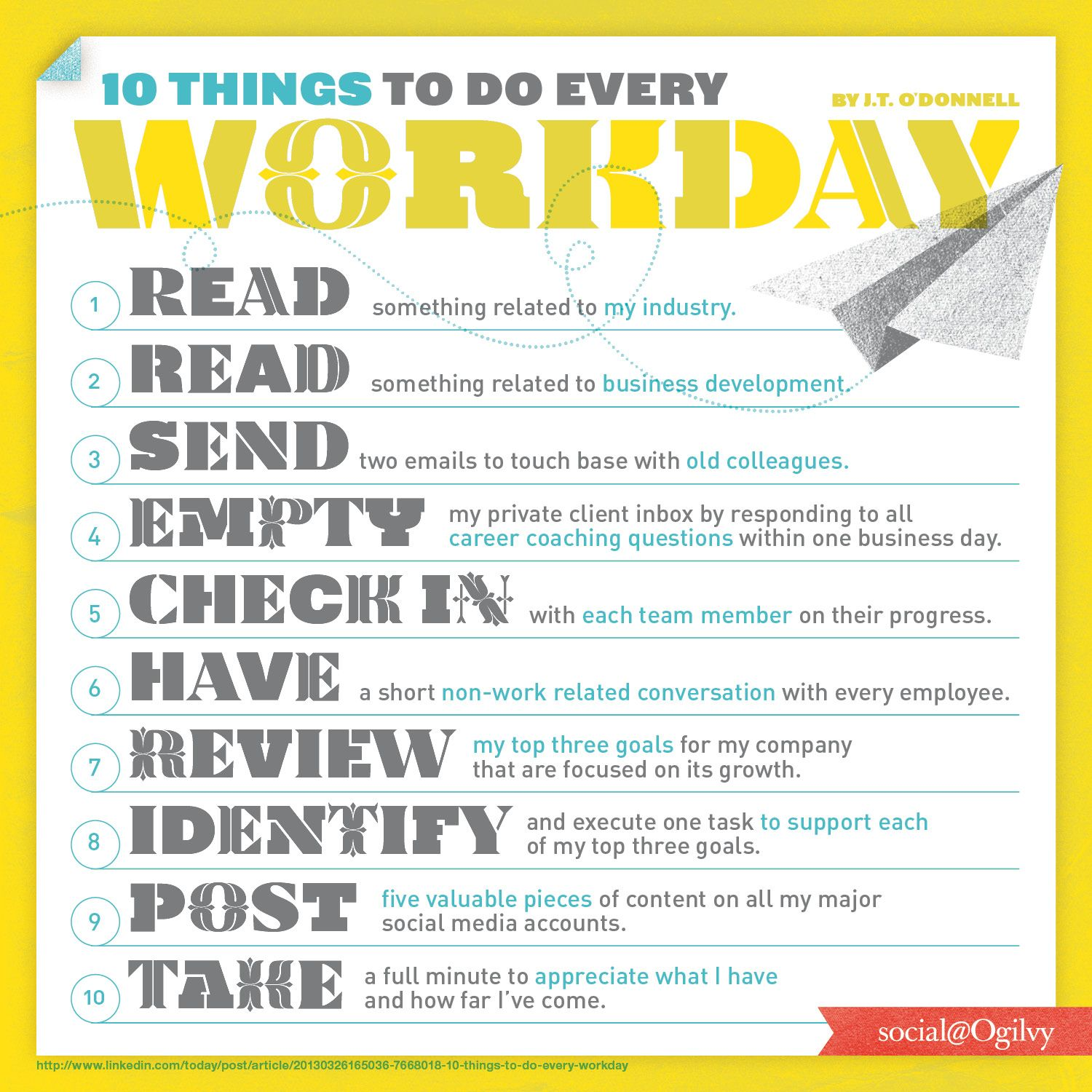 10 Things To Do Every Workday... A great list by J.T. O