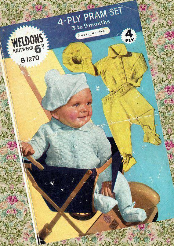 Original Vintage 1950s Weldons B1270 Baby Bonnie Pram Set Vintage