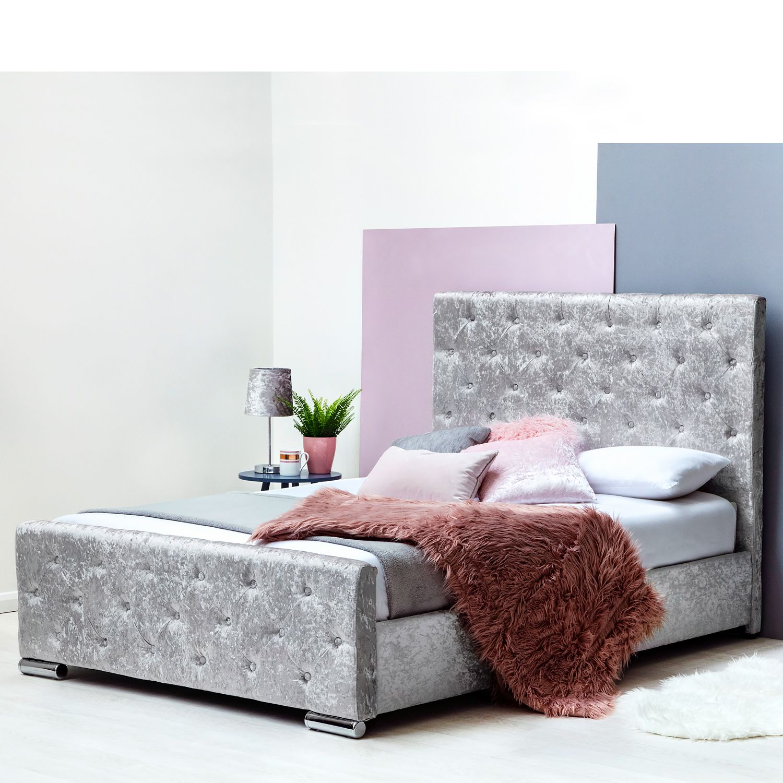 Buckingham Silver Crushed Velvet Fabric Upholstered Bed Frame