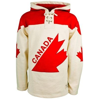Old Time Hockey Canada Winter Olympics Vintage Lace Up Pullover Hoodie Cream Red Hoodies Pullover Hoodie Nice Tops