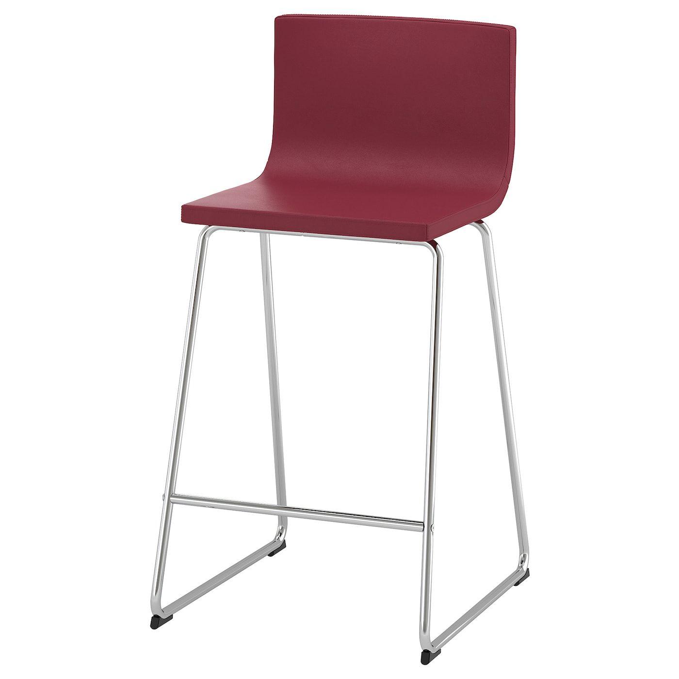 BERNHARD Bar stool with backrest chrome plated, Mjuk dark