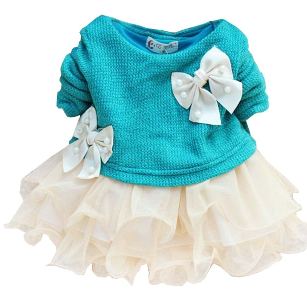 HOT Casual Baby Girls Knit Top Kids Lace Bow Princess Dress Tulle ...