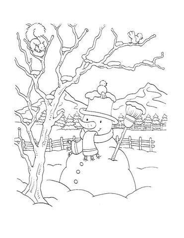 Muñeco de Nieve en el Patio Dibujo para colorear | Gloria ...