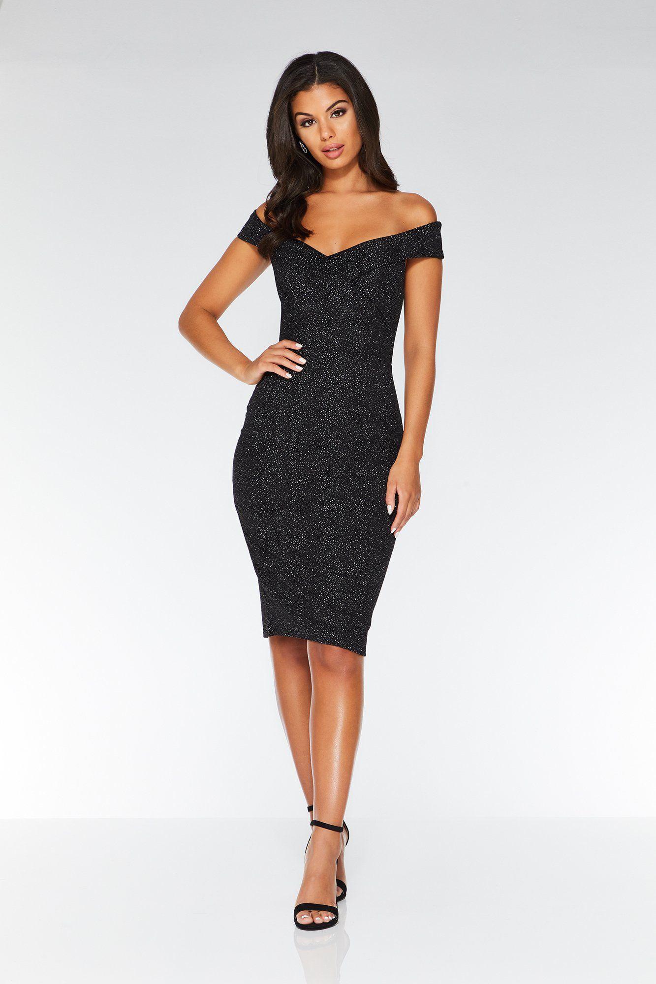 3e81b0d7d Black Glitter Bardot Midi Dress in 2019 | Clothes | Bardot midi ...