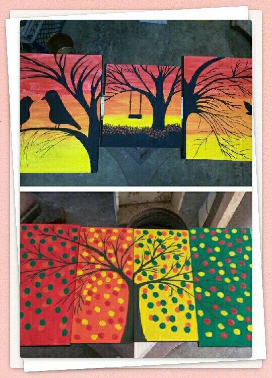 Cuadros de atardecer y árbol maravillosos hechos por mi con la inspiración de pinterest