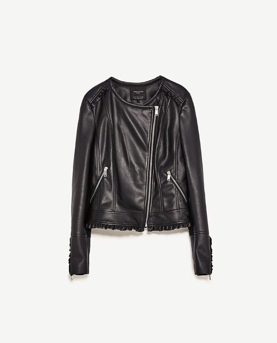 Image 8 of FAUX LEATHER JACKET WITH FRILL from Zara