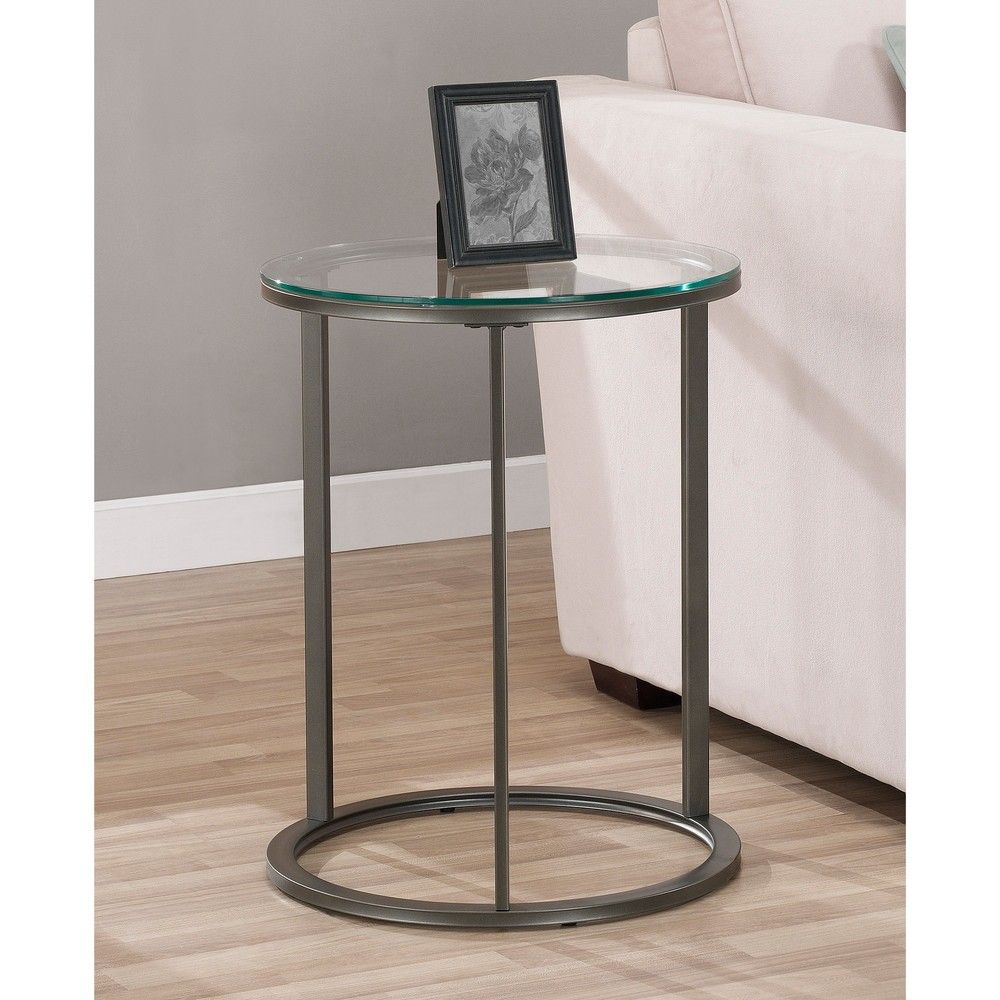 Round glass top metal end table shopping for Round glass coffee table top