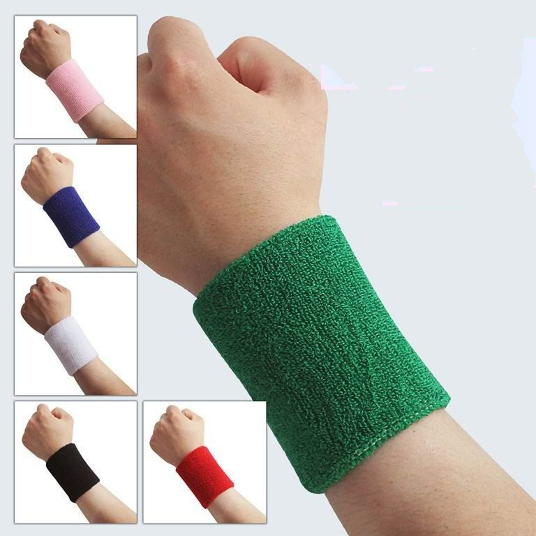 4 x Sport Sweatbands Wrist Sweat Bands Fitness Gym Wristband Band