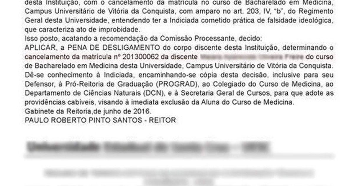 #Aluna de medicina condenada por fraude em cotas é expulsa da Uesb - Globo.com: Globo.com Aluna de medicina condenada por fraude em cotas é…