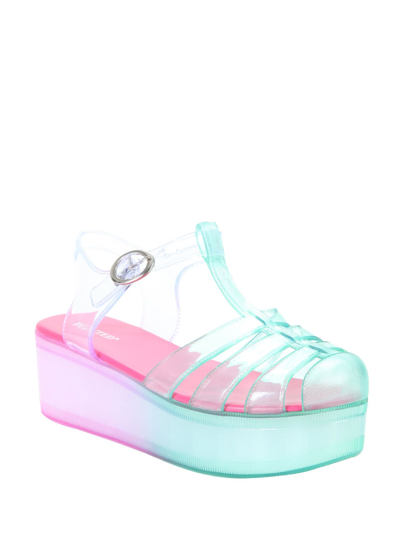 ab7f31bfe069 Pink   Seafoam T-Strap Jelly Flatform Sandals