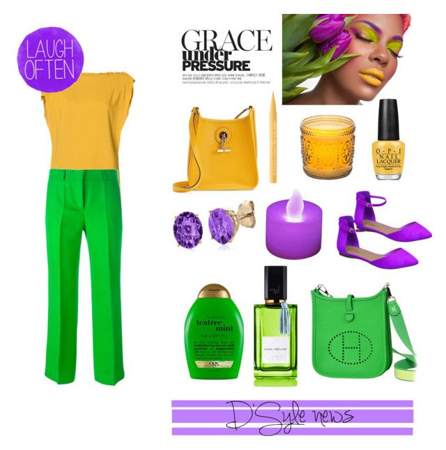 """""""Orchid+yellow+greenery"""" by stylebydd on Polyvore featuring LumaBase, Vivienne Westwood Anglomania, Emilio Pucci, Breckelle's, Organix, Hermès, OPI, Too Faced Cosmetics, Belk & Co. and Improvements"""