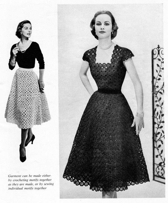 50s Vintage Crocheted Floral Dress - Crochet Pattern - Digital PDF ...