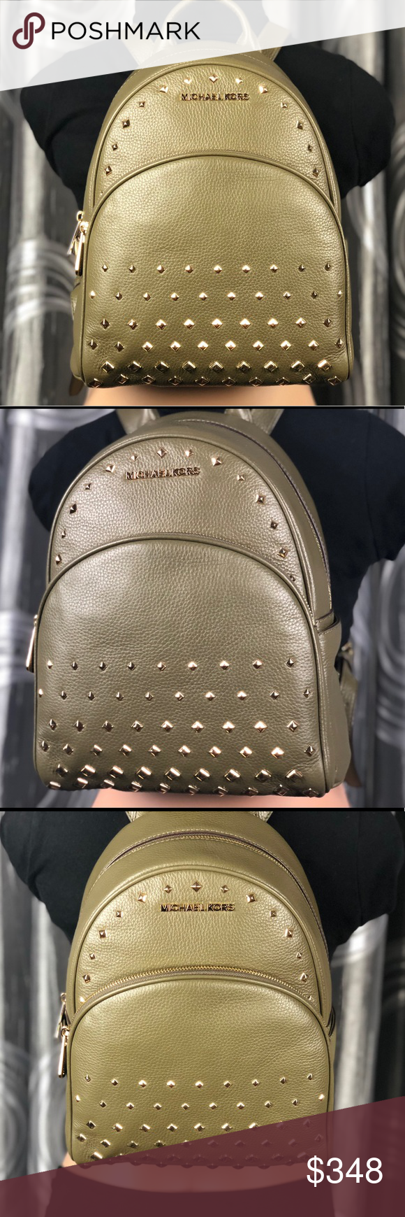 Michael Kors Abbey Studded Leather Backpack 🎒 Michael Kors Abbey Medium  Studded Olive Green Leather Backpack 19cd53d023507