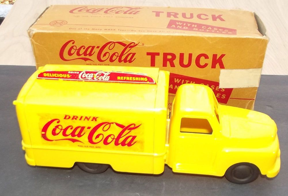 Rare Marx Coca Cola Toy Truck with SCARCE Box  Vintage Coke delivery truck toy