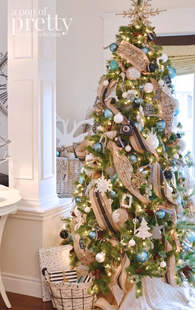 French inspired Christmas tree decor - beautiful home tour in black, white,  and peacock blue. - French Inspired Christmas Decor (Black, White & Peacock Blue