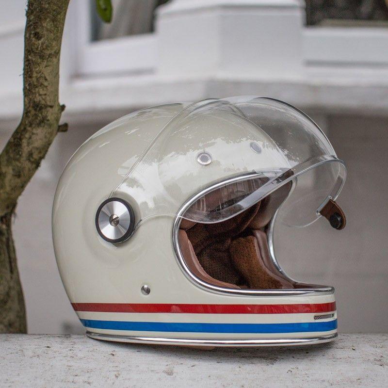 Bell bullitt helmet stripes vintage white side オートバイ