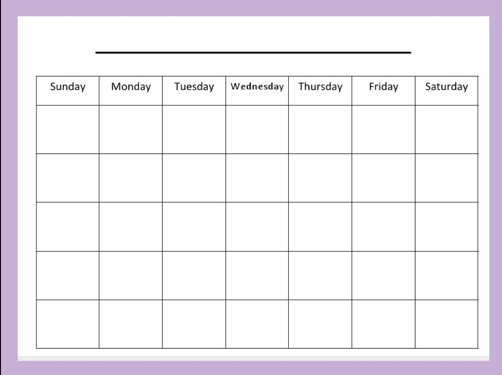 Blank Calendar Template For Kids Good Number Practice Monthly