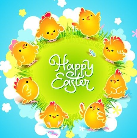 Free Cartoon Happy Easter Vector Design With Flowers And Grass 04