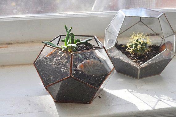 NEW Atlas Terrarium Planter Kit -- geodesic glass terrarium -- stained glass - copper or silver -- eco friendly