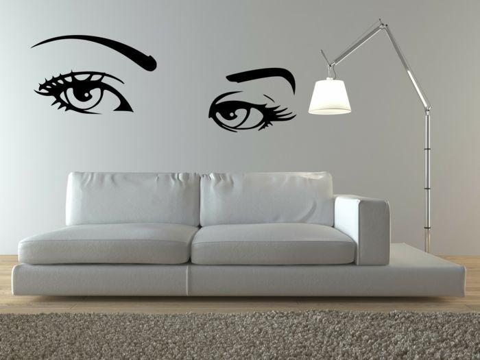 pochoir mural en forme de visage femme stickers murales