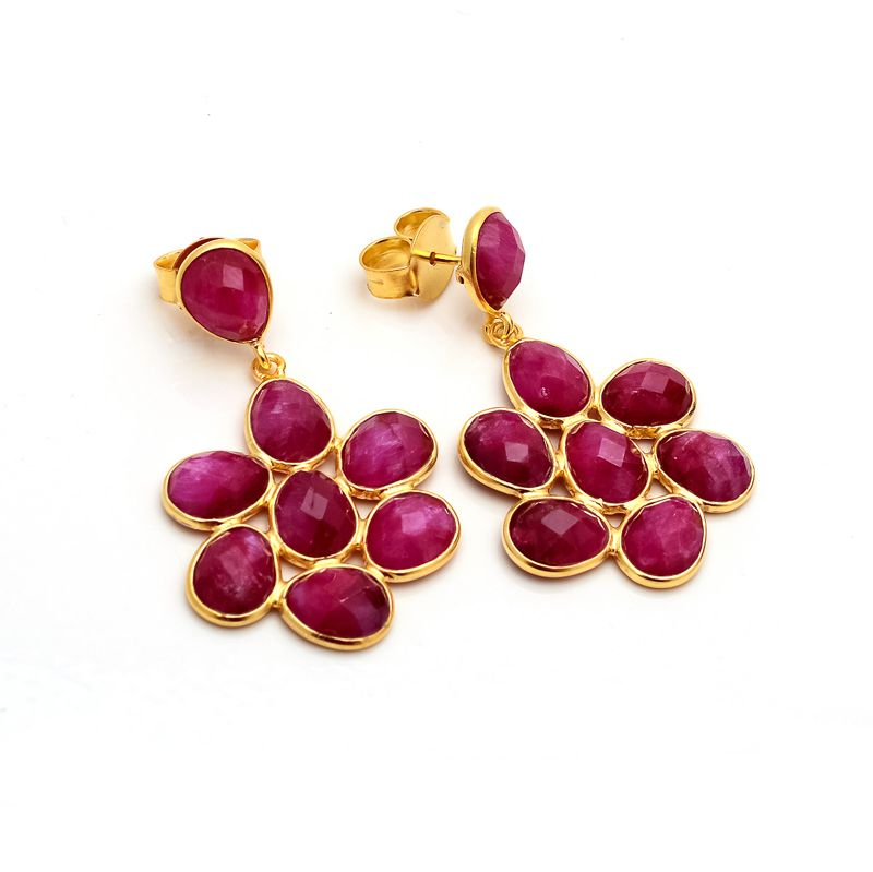 925 sterling silver gold plated flower ruby Earrings!! #ruby #creation #handmade I invite you to visit our website: http://www.dwarkajewel.com for more products.