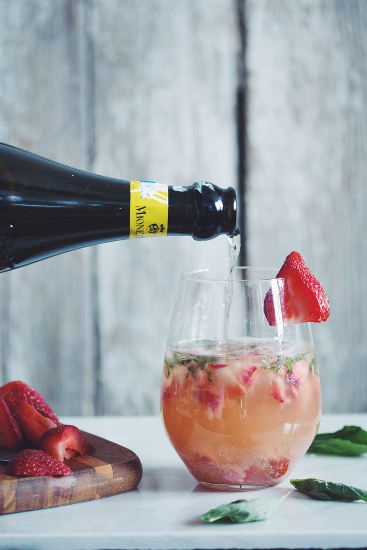 strawberry ginger basil prosecco cocktail | RECIPE on hotforfoodblog.com