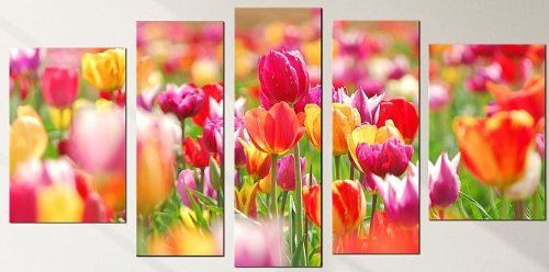 Startonight Canvas Wall Art Red Tulips Flowers Usa Design For Home Decor Dual View Surprise Artwork Modern Framed Glass Wall Art Acrylic Decor Wall Art Sets