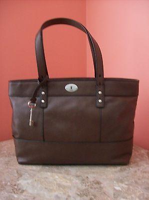 Nwt Fossil Hunter Per Espresso Leather Medium Shoulder Bag Tote Satchel