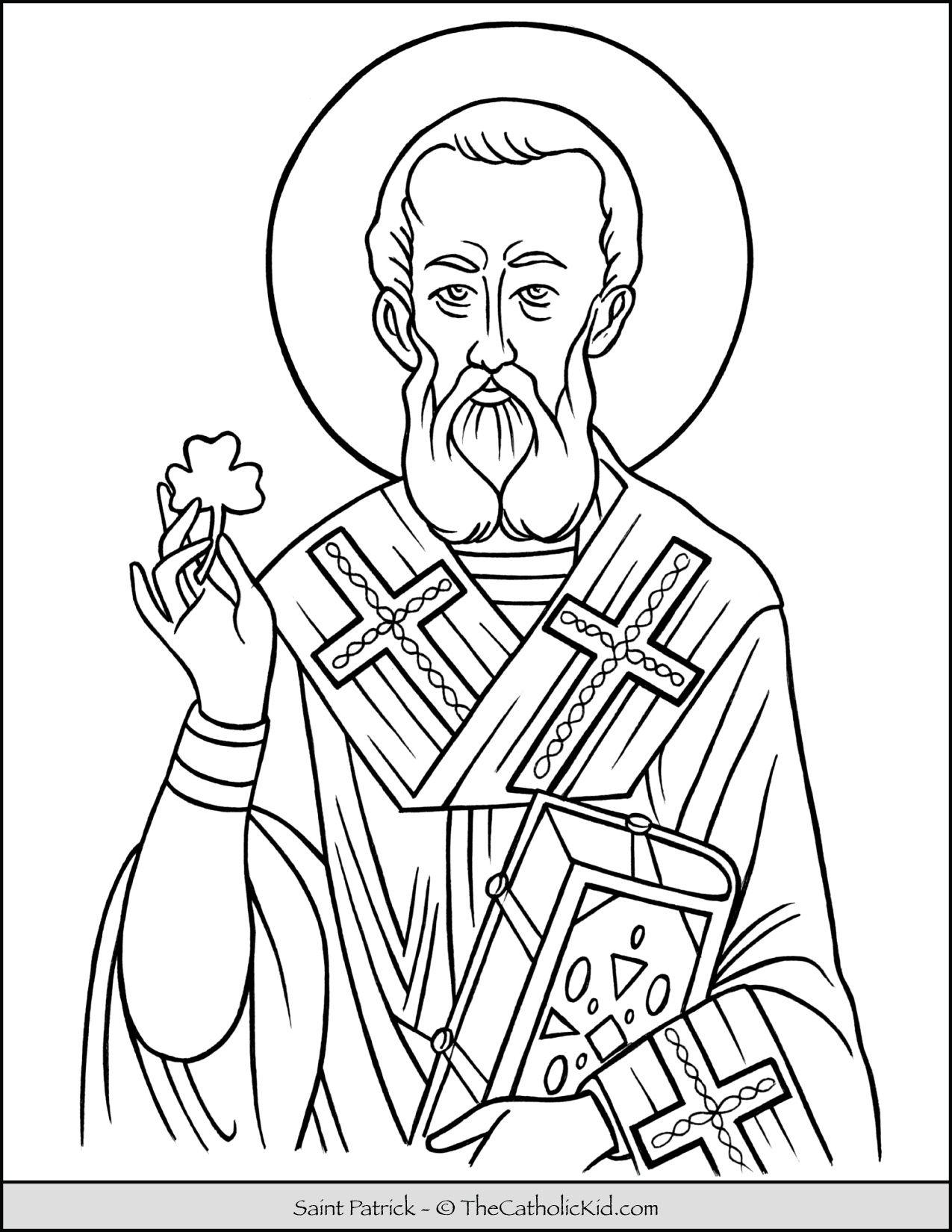 Saint Patrick Coloring Page Thecatholickid Com Coloring Pages Saint Coloring Catholic Coloring