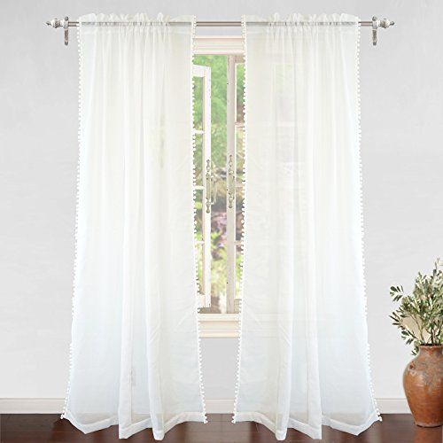 Driftaway Laura Pom Pom Trimmed White Voile Sheer Window Https