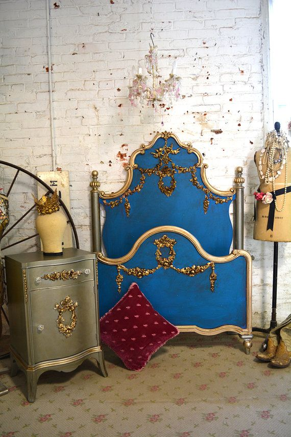 French Bed Painted Cottage Marie Antoinette Romantic Deluxe French ...