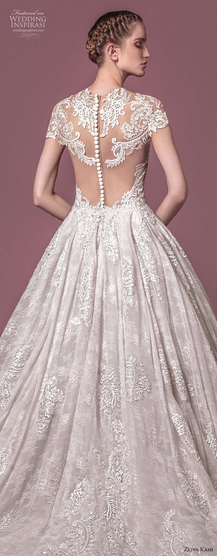 Lace wedding dress with cap sleeves sweetheart neckline  Zeina Kash  Wedding Dresses  wedding dress  Pinterest  Chapel