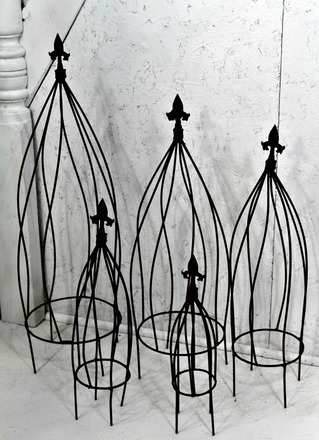 Wrought Iron Twist Flower Garden Trellis 5 sizes (With